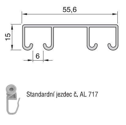 hliníková dvojkolejnička al393 | technický popis